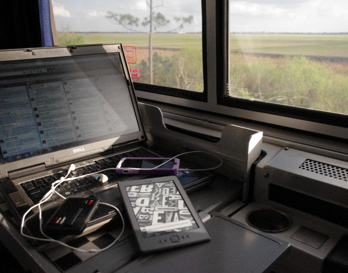 Laptop on a Roomette Table