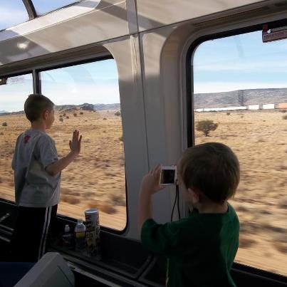 Kids on train